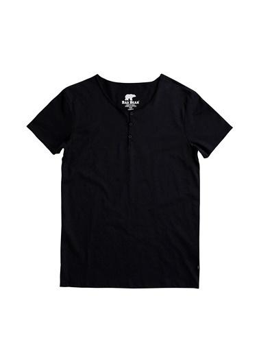 Bad Bear Bad Bear 18.01.07.013027 Button Tee V Yaka Kısa Kol Düğme Detaylı Night Erkek T-Shirt Siyah